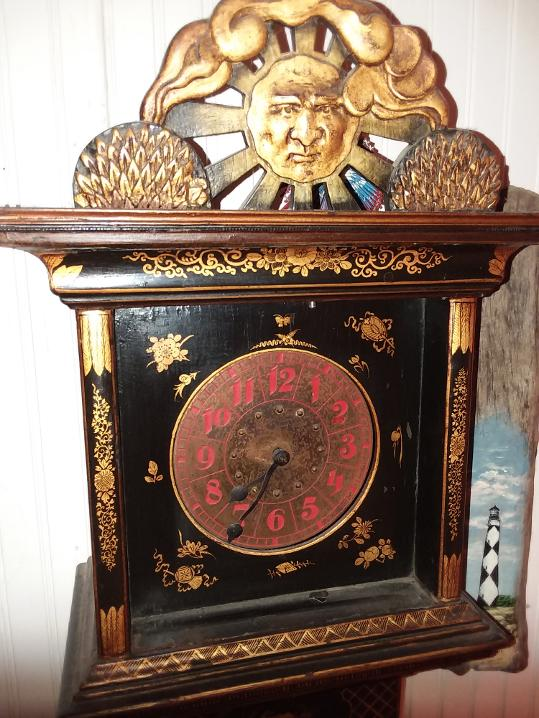 Grandmother Clock With Chinese Detail